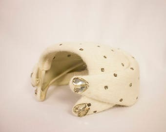 Vintage Half Hat w/ Silver Studded Rhinestones and Teardrop Jewels- Knickerbocker - 1940s/1950s