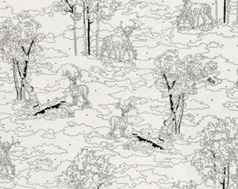 Moda Fabric, Alpine in Paint by Number in Birch White, Erin Michael Fabric, Black & Cream Low Volume Fabric, Scenic Woodland Fabric, Novelty