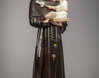 Charming Saint Anthony of Padua with Child Jesus Polychromed Plaster Statue