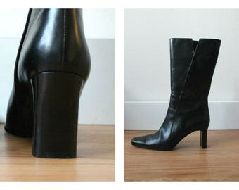 Vintage Black Italian Leather Boots | Minimalist Square Toe | Size 7 N