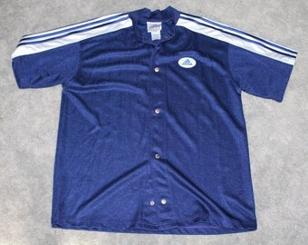 Vintage 90s Clothing Adidas Trefoil Brand Mens Size Large or Oversized Womens Retro Embroidered 3 Stripes Short Sleeve Snap Up Mesh T Shirt