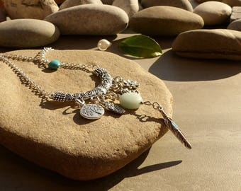 Necklace with amazonite and howlite, lotus flower, feather tree of life and Stone Buddha lotus flower jewelry, jewelry, blue and silver