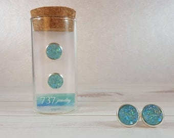 Mint Aqua Druzy Earrings, Mint Druzy Stud Earrings, Aqua Mint Druzy Stud, Blue Druzy, Mint Blue Faux Druzy, 10mm Aqua Mint Druzy Stud
