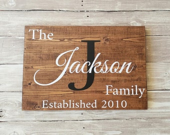 Last Name Sign, Custom name sign, family est sign, Personalized Sign, Home Decor, Wedding Gift, Wood Sign, Housewarming Gift, Wood Wall Art