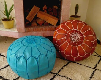 Moroccan Pouf //Set of 2  Handmade Leather pouf // Leather Ottoman  // 100 % Handmade // Genuine Leather // BROWN + TURQUOISE