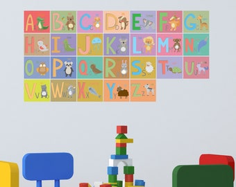 Alphabet Wall Decal - Children Alphabet Wall Decal - A-Z Wall Stickers - Alphabet Letters Playroom Decor - ABC Alphabet Home Decor