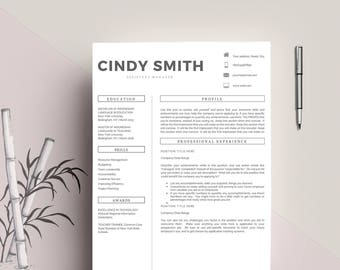 """Professional Resume Template / CV Template, 2 Pages Word Resume Design + 1 Pages Cover Letter, Creative Design, Instant Download """"Cindy"""""""