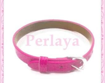 Set of 3 bracelets pink leatherette REF490X3