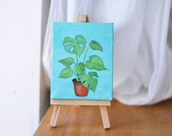 Monstera Deliciosa Mini Canvas Oil Painting (with easel)