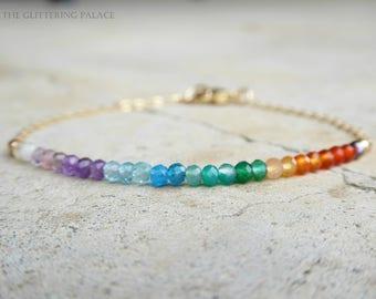 Rainbow Gemstone Bracelet, Multi Colored Bracelet, Mixed Gemstone Jewelry, Multi Colored Stone Jewelry, Gift For Wife, 14k Gold Fill, Rose