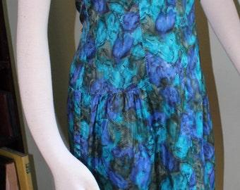 """Size Medium,Deep blue and green dress, vintage 1960's,  33"""" waist"""