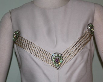 "Size 8 vintage 1960's gown with beads and rhinestones, alternative wedding! 36"" bust"