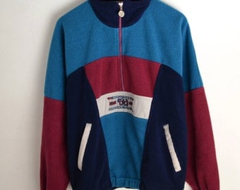 Fleece Jacket Vintage Victory M L Ski fleece jacket Vintage ski fleece jacket 90s jacket Warm-up jacket Fleece sweater Fleece windbreaker