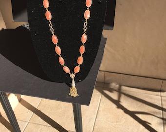 Long Infinity  Crystal Quartz  Peach Necklace by Dobka