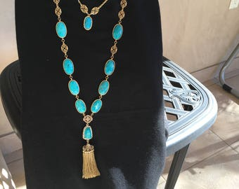 Double Turquoise Necklace with Tassel pendant by Dobka