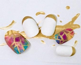 Matte Gold Geometric Nails