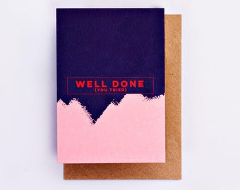 Well Done You Tried Card, Illustration, Fashion Stationery, Fashion Card, Cool Card, Congratulations Card, Encouragement Card, Minimal Card