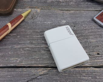 Personalized Zippo -Zippo White Matte with Zippo Logo on It - Engraved Zippo - Groomsmen Gift - Gifts for Him, Gift for Her, Graduation Gift
