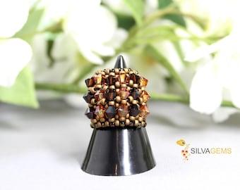 Swarovski Smoky Quartz, Citrine, Topaz Crystals Handmade Band Ring. Beaded Ring for Her. Statement Ring. Swarovski Jewellery. Golden Ring.