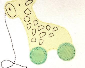 Giraffe Toy vintage style applique machine embroidery design