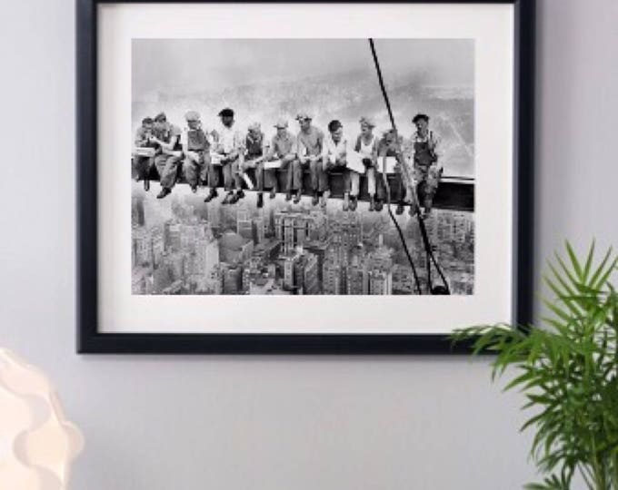 New York City, Lunch Atop a Skyscraper 1932, Framed Art Prints, New York Photo, Black & White Framed Photo, Home Decor, Framed 14x18 inch