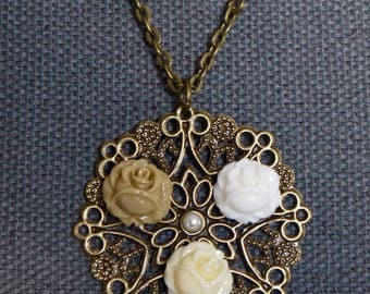 Long necklace bronze pendant print rose flower cabochons resin flowers