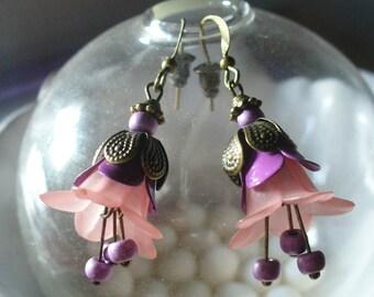 Bronze, pink and purple earrings