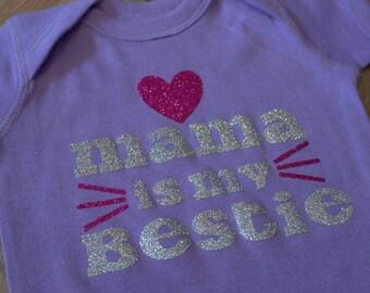 Baby Girl Onesie - Mama is my Bestie - Baby Girl Bodysuit - Baby Girl Outfit