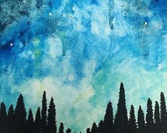 Galaxy Watercolor Painting