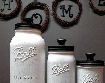 White and Black Mason Jar Kitchen Canister Set