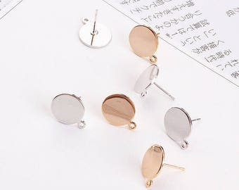 4pcs Flat Back Earring Studs with 1 loop Solid Gold Plated Studs Earring Posts Gold Studs Flat Pad Stud Earring Unique DIY Jewelry Supplies
