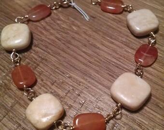"8"" Red Adventurine and Riverstone Bracelet"