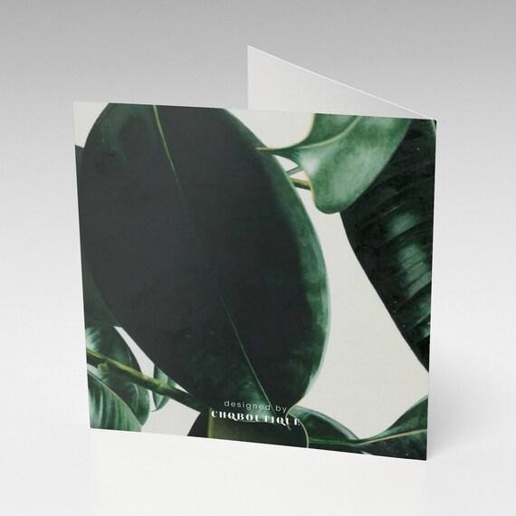 quadratische Grußkarte Danksagung, grün & weiß
