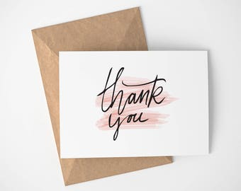Water Color Thank You Card | Any Occasion - Pink - Thank you card - Simple - Thanks - Thank You - Greeting Card