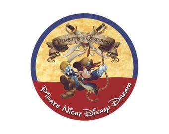 Pirate Night Cruise Button - Pirate Mickey Pin - Disney Cruise Button - Pirate Badge - Pirate Costume Accessory - Disney Park Pin