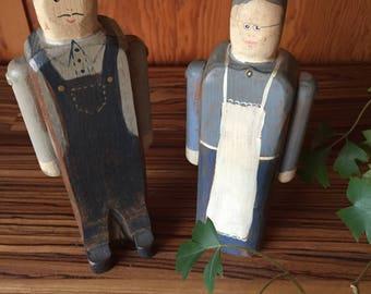 Wood Dolls, Folk Art, Wood Toys, Painted Wood, Carved Wood