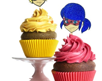 Miraculous Cupcake toppers, miraculous tales of ladybug and noir party decor