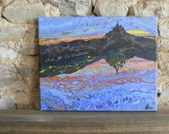 Mont Saint Michel painting sunset sunlight