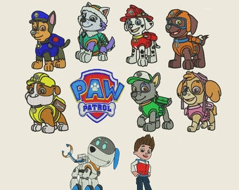 Paw Patrol Embroidery Design - 10 designs instant download