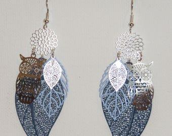 Leaf earrings, flower, owl, prints, silver, Navy Blue Earrings, dangle earrings, OWL Earrings