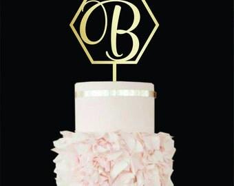 Wedding cake topper Letter B Geometric cake topper Initials Cake Topper Single Letter B Wedding Cake Topper wood Unique Cake Topper letter G