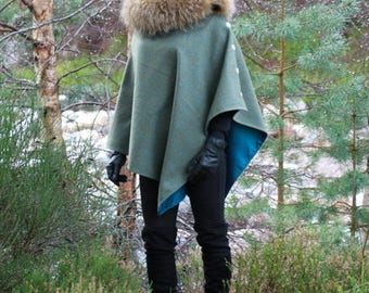Tweed Cape / Poncho / Wrap with detachable faux fur collar