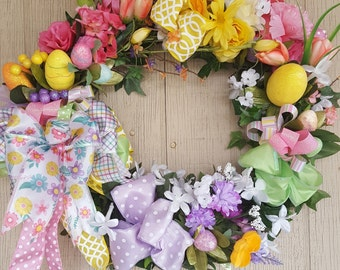 Easter Wreath, Easter Wreaths, Floral Wreath, Springtime Wreath, Spring Wreath, Spring Wreaths, Floral Wreaths, EasterEgg Wreath, Egg Wreath