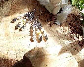 Boucles d'oreilles fleurs, feuilles et quartz rose et Péridot par Angel'S SignS