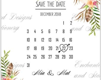 Save the Date- Floral Calendar