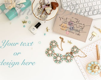 Blue & Gold Desk Styled Stock Photo / Styled Stock Photography /Flatlay / Office Stock Images / Desktop Mockup /  Frankly Photos File #34