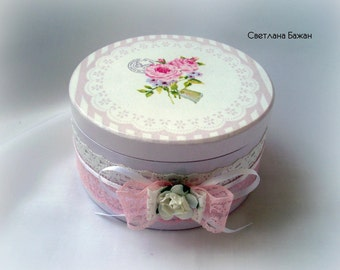 "Delicate casket ""Tenderness and CHIC"", wooden box, shebby chic decor, decoupage box, romantic decoupage box, jewellery box"