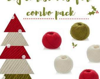Christmas 5 Balls Combo Pack - Superwash Merino - Christmas Crochet- Xmas Baby Blanket - Christmas Hat- Knitting Yarn DK- Xmas Cardigan 8ply