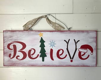 Rustic Home Decor Christmas Sign - Believe multi color