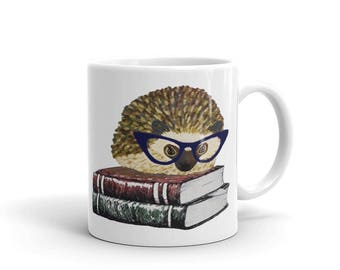 Hedgehog Mug - Adorable Hedgehog Book Nerd In Glasses - An Original  Princess Pricklepants Design - Ceramic Mug